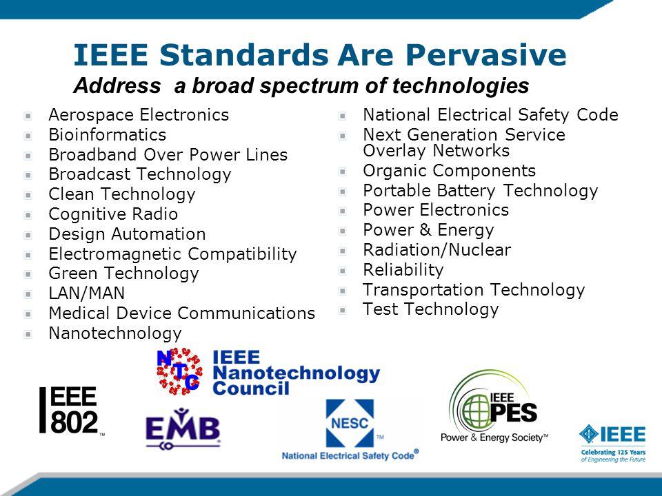 IEEE Standards Are Pervasive Address a broad spectrum of technologies Aerospace Electronics Bioinformatics Broadband Over Power Lines Broadcast Techno