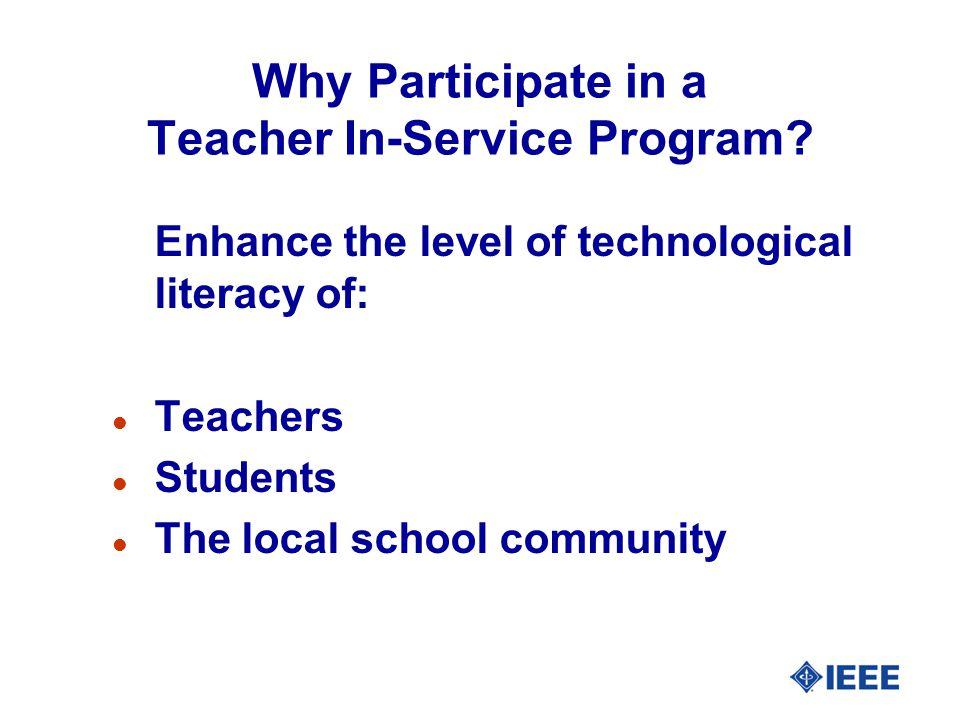 Why Participate in a Teacher In-Service Program.