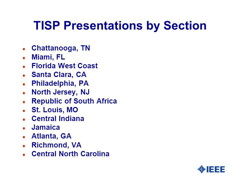 TISP Presentations by Section l Chattanooga, TN l Miami, FL l Florida West Coast l Santa Clara, CA l Philadelphia, PA l North Jersey, NJ l Republic of South Africa l St.