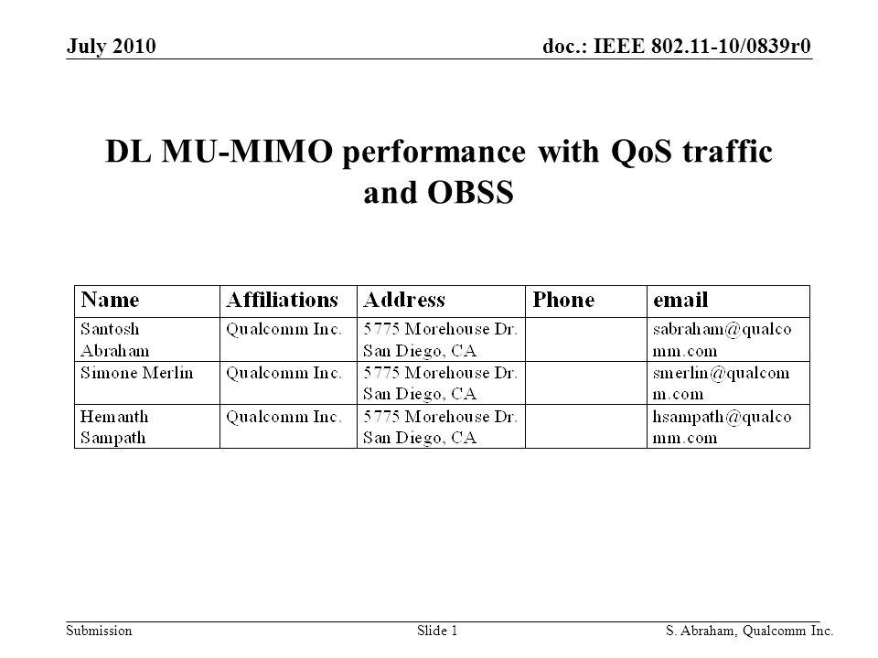 doc.: IEEE 802.11-10/0839r0 Submission Slide 2S.Abraham, Qualcomm Inc.