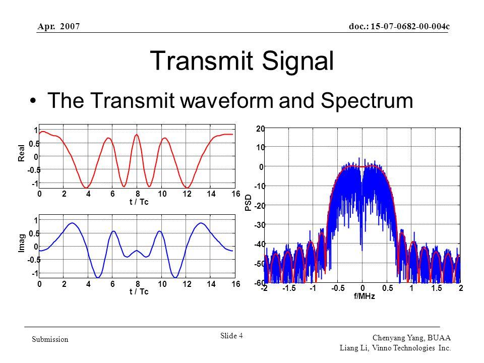 Apr. 2007doc.: 15-07-0682-00-004c Slide 4 Submission Chenyang Yang, BUAA Liang Li, Vinno Technologies Inc. Transmit Signal The Transmit waveform and S