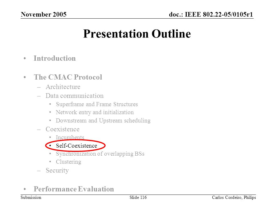 doc.: IEEE 802.22-05/0105r1 Submission November 2005 Carlos Cordeiro, PhilipsSlide 116 Presentation Outline Introduction The CMAC Protocol –Architectu