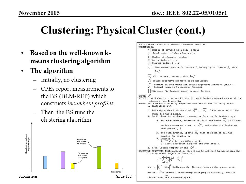doc.: IEEE 802.22-05/0105r1 Submission November 2005 Carlos Cordeiro, PhilipsSlide 132 Clustering: Physical Cluster (cont.) Based on the well-known k-
