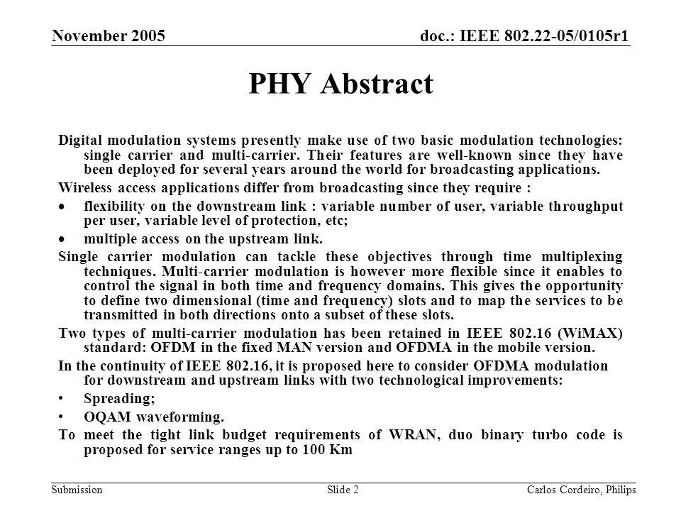 doc.: IEEE 802.22-05/0105r1 Submission November 2005 Carlos Cordeiro, PhilipsSlide 73 Duo-binary Turbo-codes vs Convolutional with OFDM/OQAM modulation