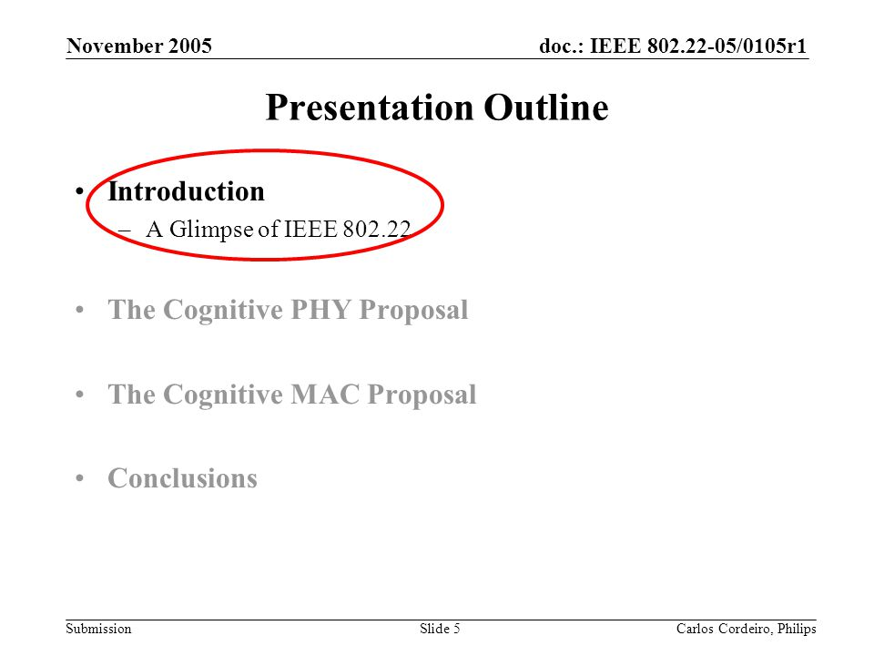 doc.: IEEE 802.22-05/0105r1 Submission November 2005 Carlos Cordeiro, PhilipsSlide 126 Presentation Outline Introduction The CMAC Protocol –Architecture –Data communication Superframe and Frame Structures Network entry and initialization Downstream and Upstream scheduling –Coexistence Incumbents Self-Coexistence Synchronization of overlapping BSs Clustering –Security Performance Evaluation