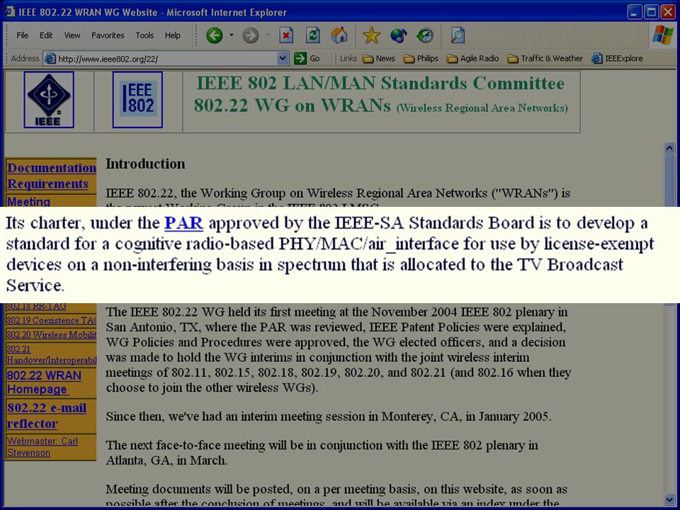 doc.: IEEE 802.22-05/0105r1 Submission November 2005 Carlos Cordeiro, PhilipsSlide 137 Security Sublayer (cont.) Data packets encryption –Using strong cryptographic algorithms (AES) Management frames integrity protection –Using keyed message authentication codes Protection against Deny of Service and other attacks –Protection of management frames against forgery and replay attacks –Protection of data frames against replay attacks –Protection of EAP packets during subscribers authentication –Protection of every key negotiation phase, using digital signatures and random numbers