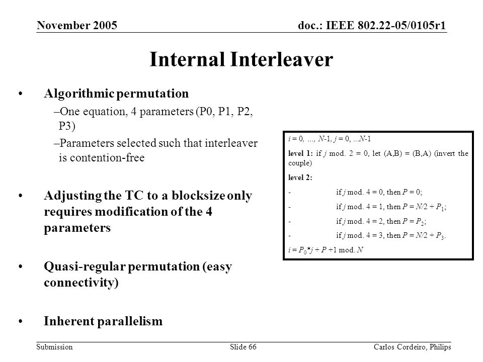 doc.: IEEE 802.22-05/0105r1 Submission November 2005 Carlos Cordeiro, PhilipsSlide 66 Internal Interleaver Algorithmic permutation –One equation, 4 pa