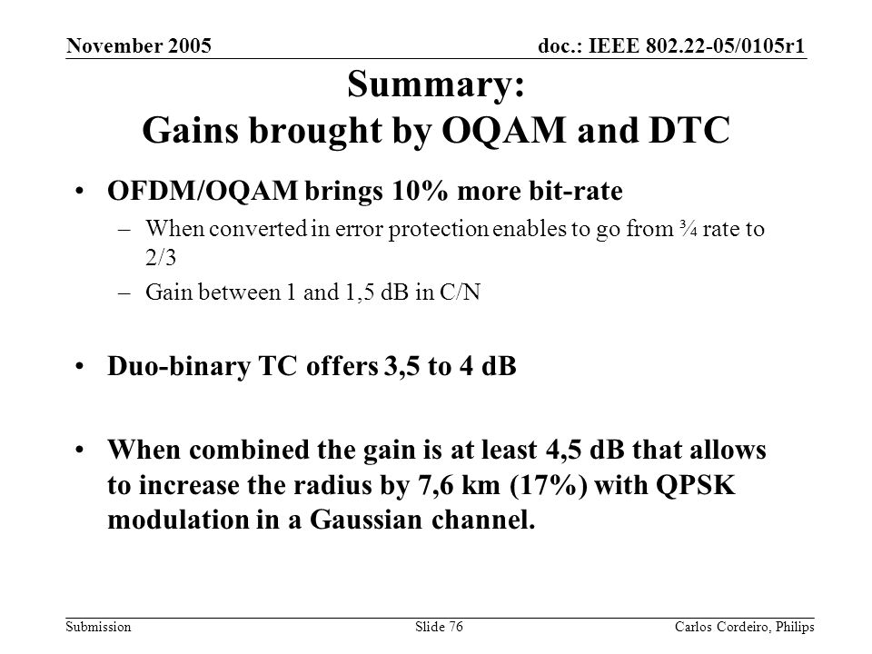 doc.: IEEE 802.22-05/0105r1 Submission November 2005 Carlos Cordeiro, PhilipsSlide 76 Summary: Gains brought by OQAM and DTC OFDM/OQAM brings 10% more