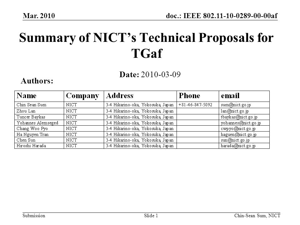 doc.: IEEE 802.11-10-0289-00-00af Submission Executive Summary This document presents the summary of the 7 proposals submitted by NICT to TGaf The fundamental concern highlighted by these proposals is the adaptation of the 802.11 system to the FCC rules Each proposal is summarized by a one-page summary featuring the problem to be solved, the proposed solution and features of the proposal Mar.