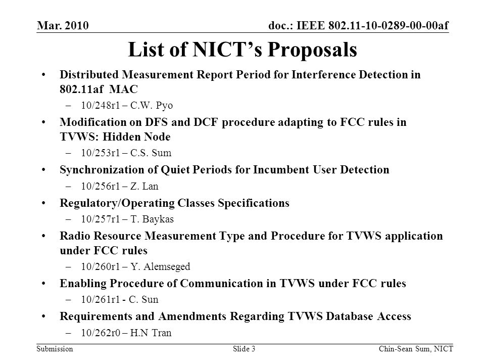 doc.: IEEE 802.11-10-0289-00-00af Submission List of NICT's Proposals Distributed Measurement Report Period for Interference Detection in 802.11af MAC –10/248r1 – C.W.