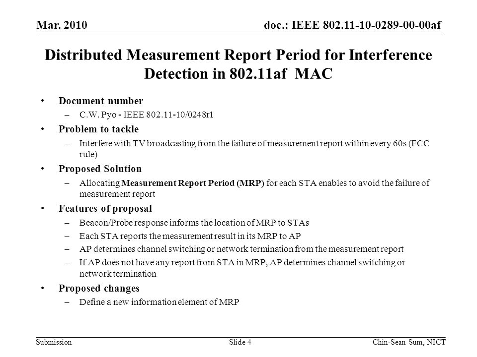 doc.: IEEE 802.11-10-0289-00-00af Submission Distributed Measurement Report Period for Interference Detection in 802.11af MAC Document number –C.W.