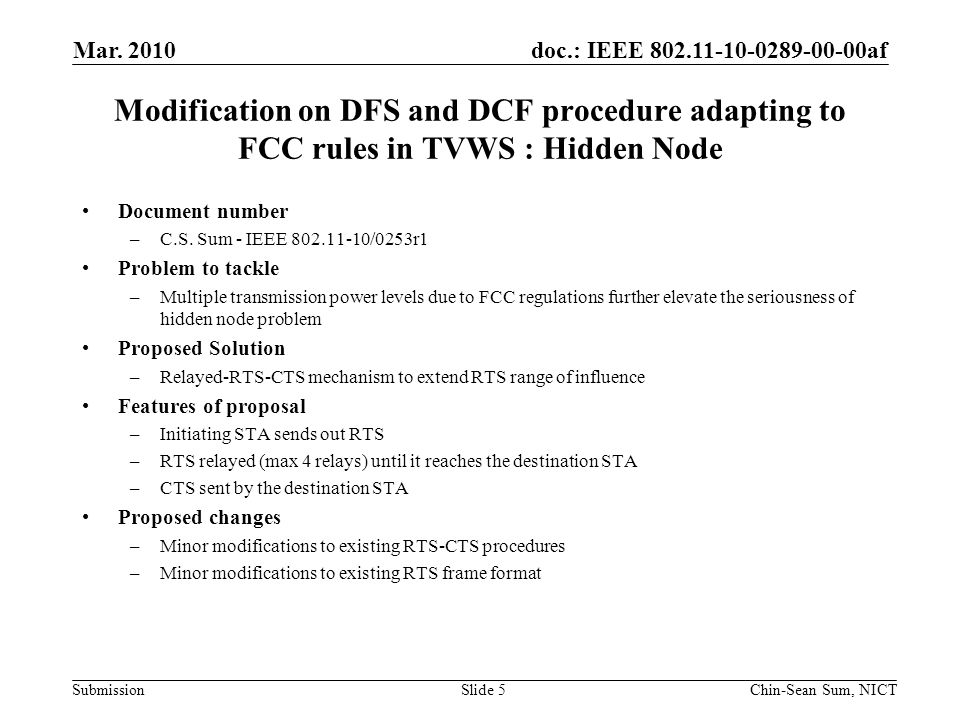 doc.: IEEE 802.11-10-0289-00-00af Submission Synchronization of Quiet Periods for Incumbent User Detection Document number –Z.