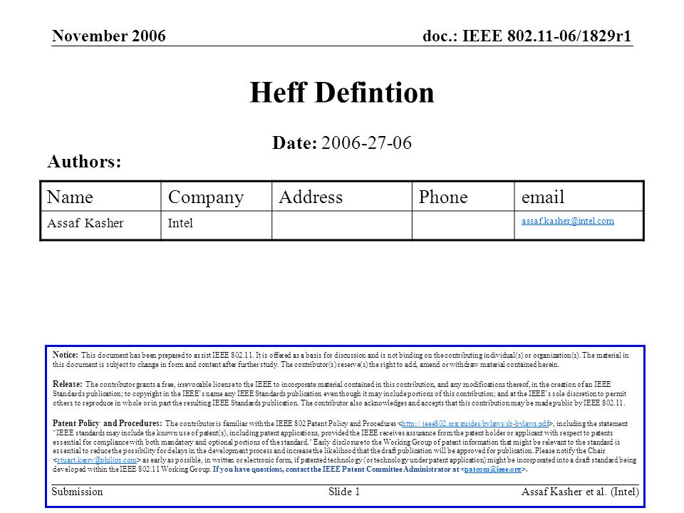 doc.: IEEE 802.11-06/1829r1 Submission November 2006 Assaf Kasher et al.