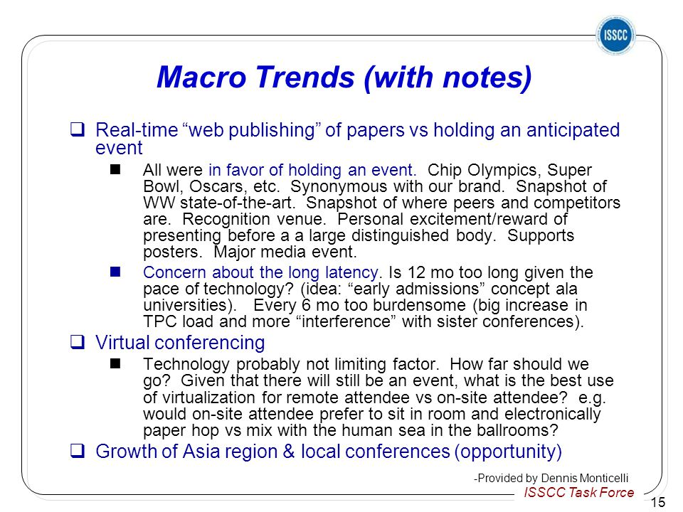 ISSCC Task Force 15 Macro Trends (with notes)  Real-time web publishing of papers vs holding an anticipated event All were in favor of holding an event.