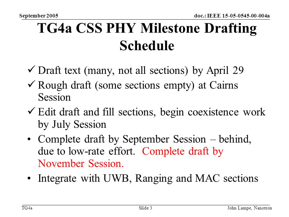 doc.: IEEE 15-05-0545-00-004a TG4a September 2005 John Lampe, NanotronSlide 3 TG4a CSS PHY Milestone Drafting Schedule Draft text (many, not all sections) by April 29 Rough draft (some sections empty) at Cairns Session Edit draft and fill sections, begin coexistence work by July Session Complete draft by September Session – behind, due to low-rate effort.