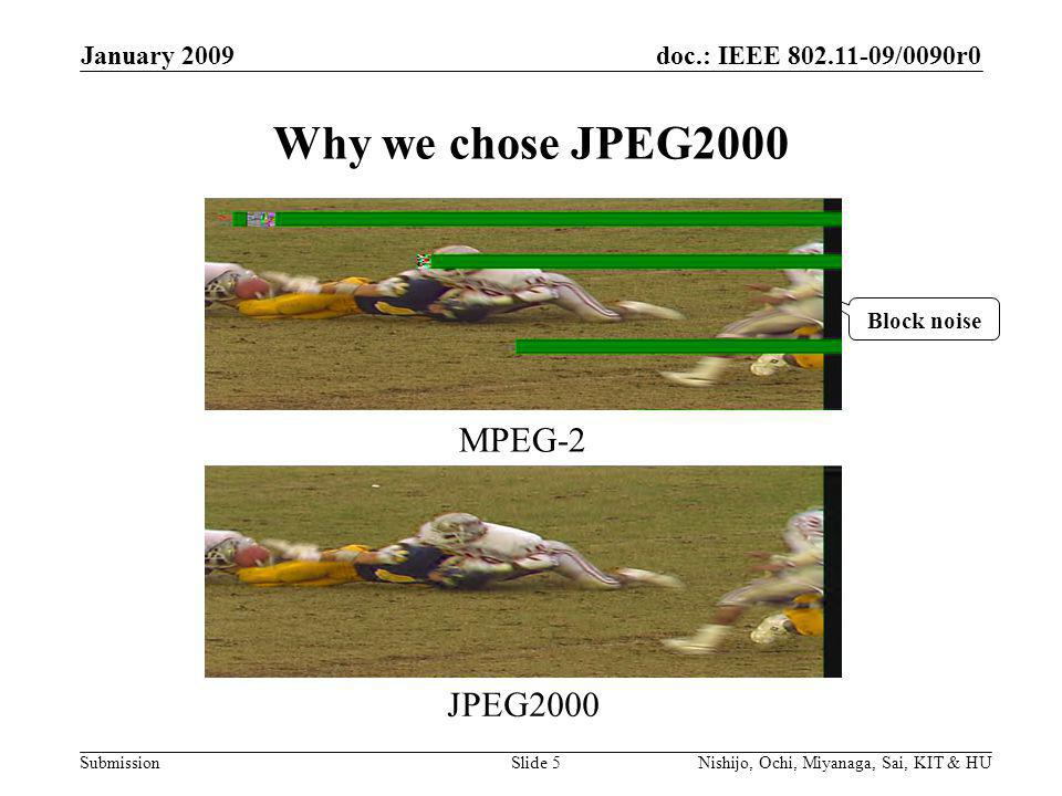 doc.: IEEE /0090r0 Submission January 2009 Nishijo, Ochi, Miyanaga, Sai, KIT & HUSlide 5 Why we chose JPEG2000 MPEG-2 JPEG2000 Block noise