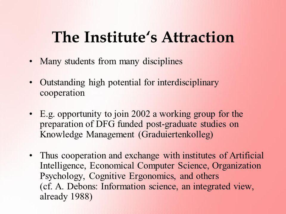 The Institute's Attraction Many students from many disciplines Outstanding high potential for interdisciplinary cooperation E.g. opportunity to join 2