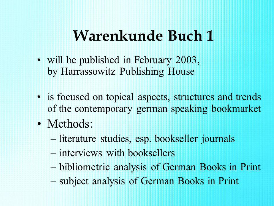 Warenkunde Buch 1 will be published in February 2003, by Harrassowitz Publishing House is focused on topical aspects, structures and trends of the con
