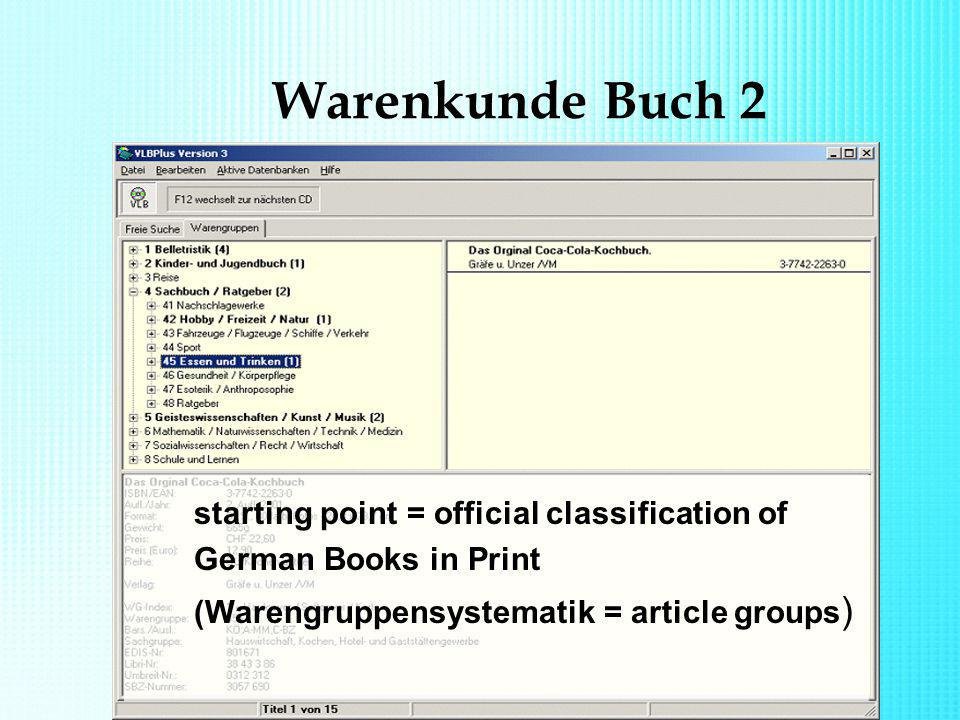 Warenkunde Buch 2 starting point = official classification of German Books in Print (Warengruppensystematik = article groups )