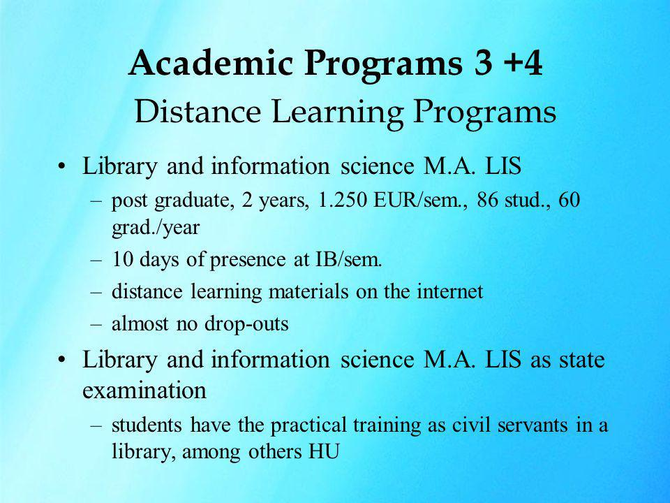 Academic Programs 3 +4 Distance Learning Programs Library and information science M.A. LIS –post graduate, 2 years, 1.250 EUR/sem., 86 stud., 60 grad.