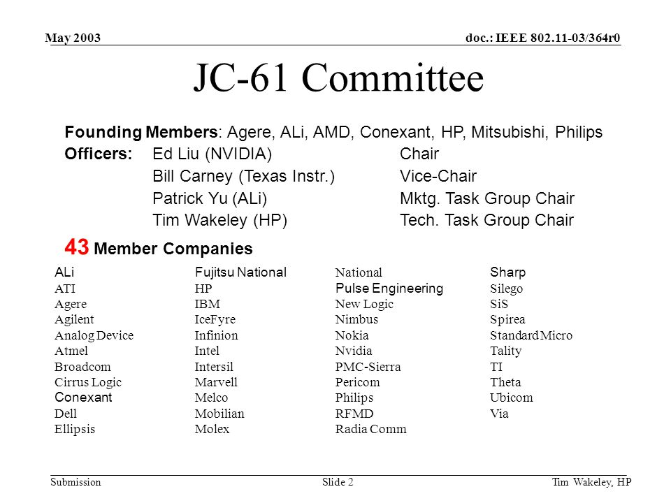 doc.: IEEE 802.11-03/364r0 Submission May 2003 Tim Wakeley, HPSlide 3 JC-61 BB-RF Interface BB-RF Ballot failed and 46 comments received – all resolved Core contributing companies believe they will reach consensus on draft for next ballot Next ballot starting on June 17 will represent a finished draft, recommended for adoption by core contributors All 43 JC-61 member companies are urged to review and vote