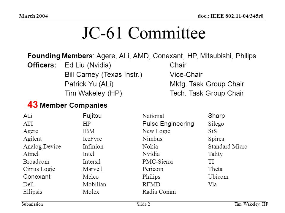 doc.: IEEE 802.11-04/345r0 Submission March 2004 Tim Wakeley, HPSlide 2 JC-61 Committee Founding Members: Agere, ALi, AMD, Conexant, HP, Mitsubishi, Philips Officers:Ed Liu (Nvidia)Chair Bill Carney (Texas Instr.)Vice-Chair Patrick Yu (ALi)Mktg.