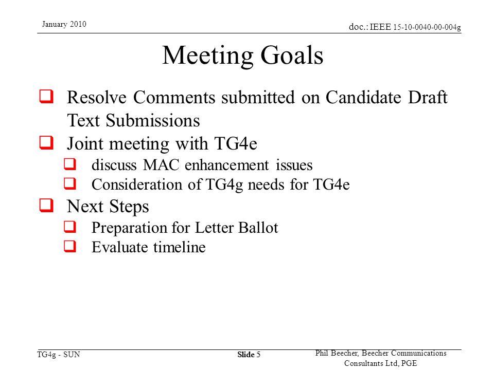 doc.: IEEE 15-10-0040-00-004g TG4g - SUN January 2010 Phil Beecher, Beecher Communications Consultants Ltd, PGE Slide 6 SG4g-SUN Meetings This Week Mtg MondayTuesdayWednesdayThursday AM1 802 / 802.15 Opening Plenary Comment Resolution AM2 TG4g Opening Status Comment ResolutionMidweek PlenaryComment Resolution PM1 Comment Review and Allocation Comment Resolution Review Comment Resolutions PM2 Joint meeting with TG4e /TG4f Comment Resolution Next Steps PM3 SocialClosing Plenary
