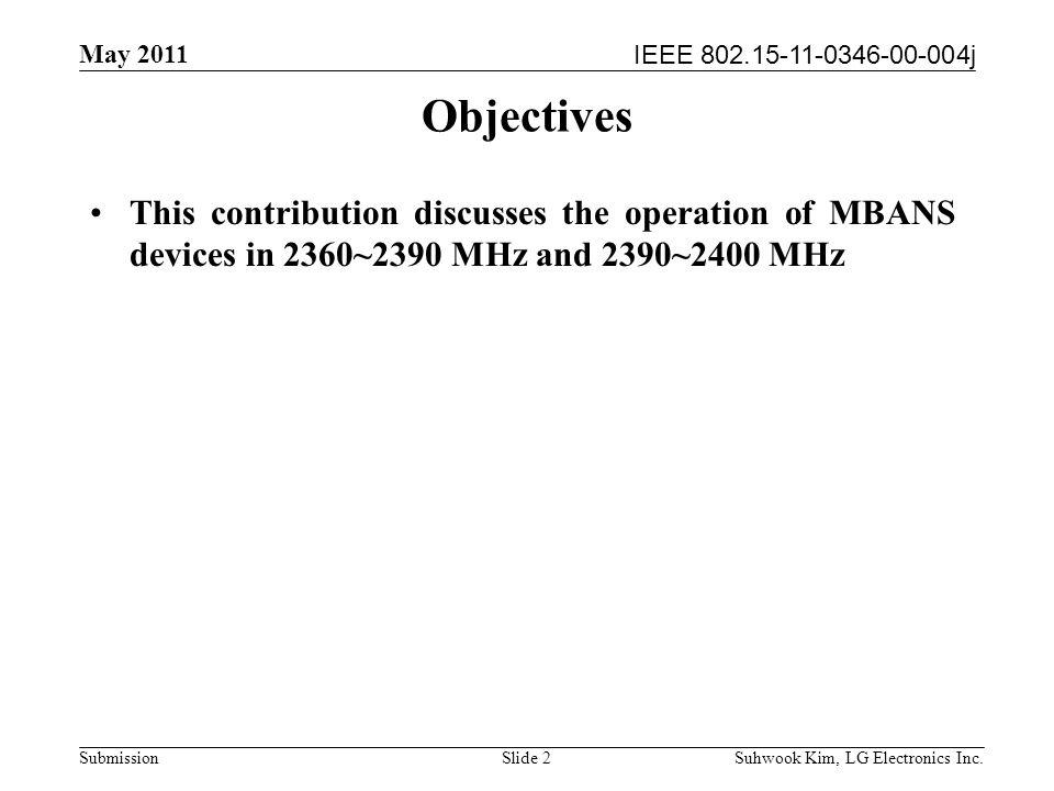 IEEE 802.15-11-0346-00-004j May 2011 Suhwook Kim, LG Electronics Inc.