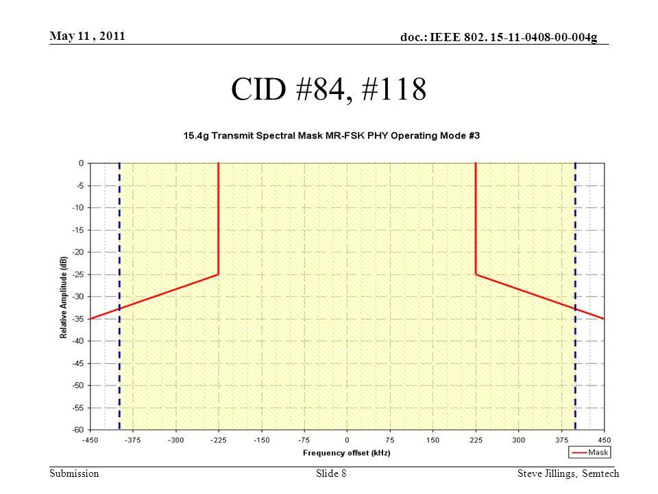 doc.: IEEE 802. 15-11-0408-00-004g Submission May 11, 2011 Steve Jillings, SemtechSlide 8 CID #84, #118