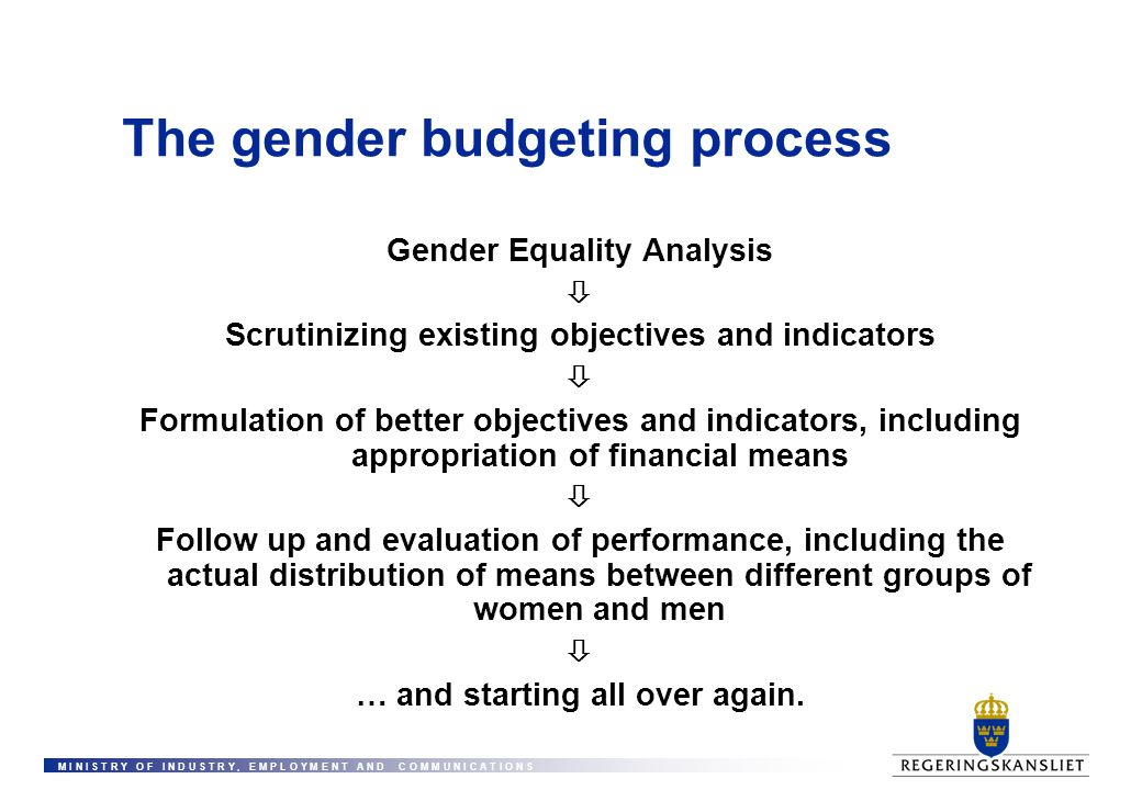 M I N I S T R Y O F I N D U S T R Y, E M P L O Y M E N T A N D C O M M U N I C A T I O N S The gender budgeting process Gender Equality Analysis  Scr