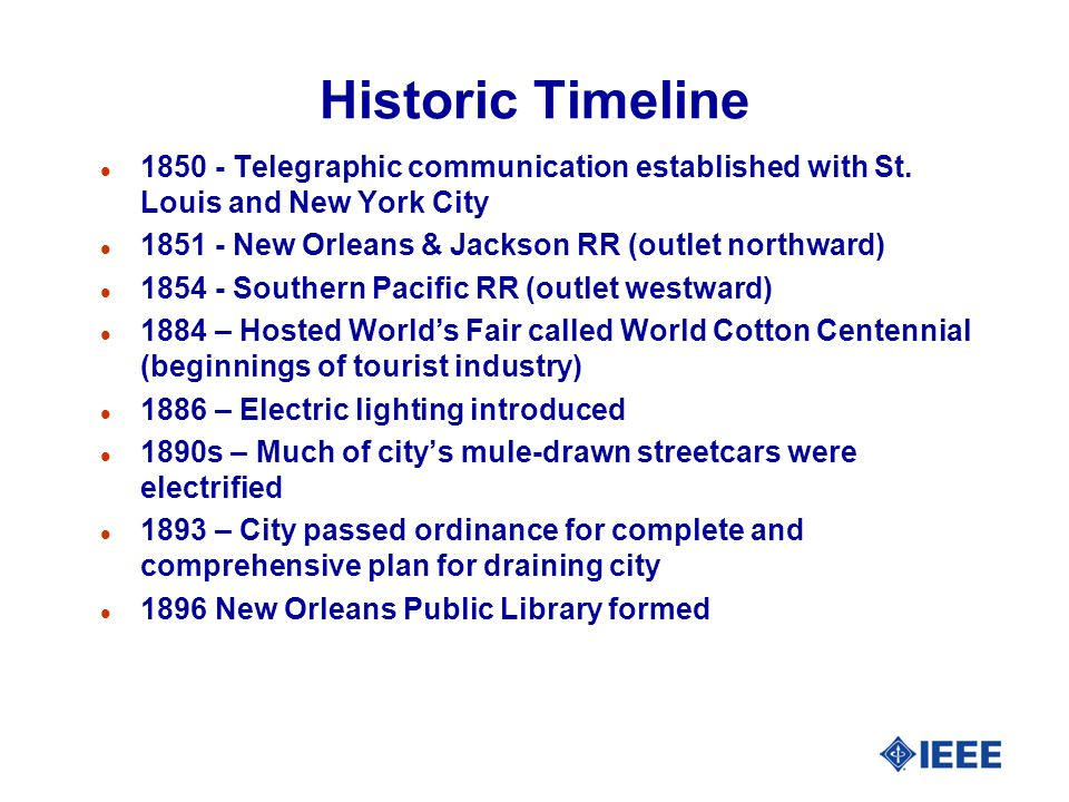 Historic Timeline l Telegraphic communication established with St.
