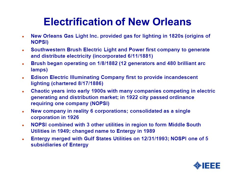 Electrification of New Orleans l New Orleans Gas Light Inc.
