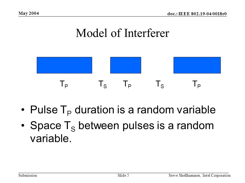 doc.: IEEE 802.19-04/0018r0 Submission May 2004 Steve Shellhammer, Intel CorporationSlide 5 Model of Interferer Pulse T P duration is a random variable Space T S between pulses is a random variable.
