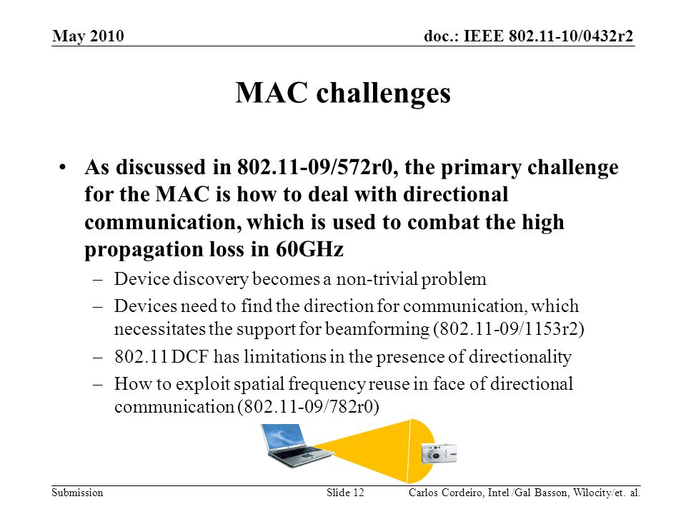 doc.: IEEE 802.11-10/0432r2 Submission MAC challenges As discussed in 802.11-09/572r0, the primary challenge for the MAC is how to deal with direction
