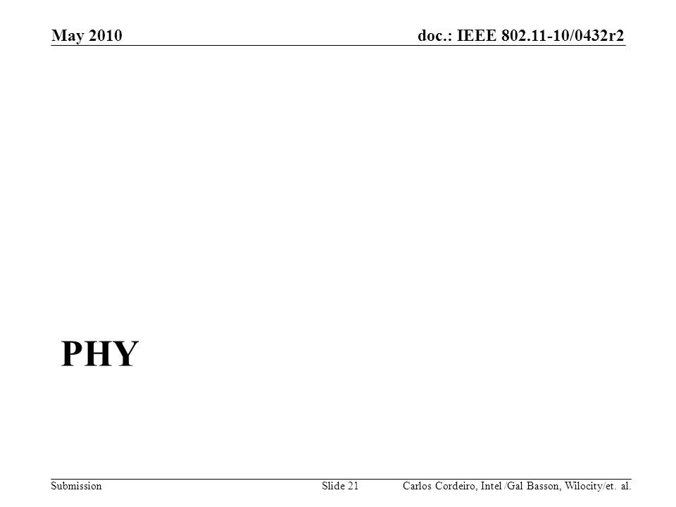 doc.: IEEE 802.11-10/0432r2 Submission PHY May 2010 Carlos Cordeiro, Intel /Gal Basson, Wilocity/et. al.Slide 21