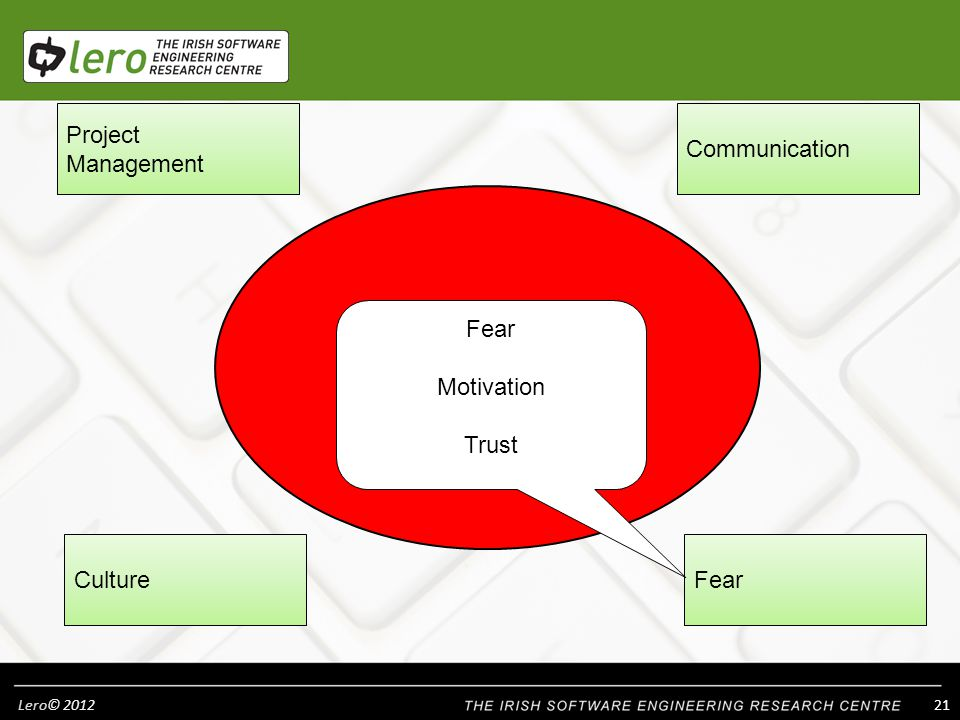 Lero© Project Management CultureFear Communication What are the BARRIERS AND COMPLEXITIES.