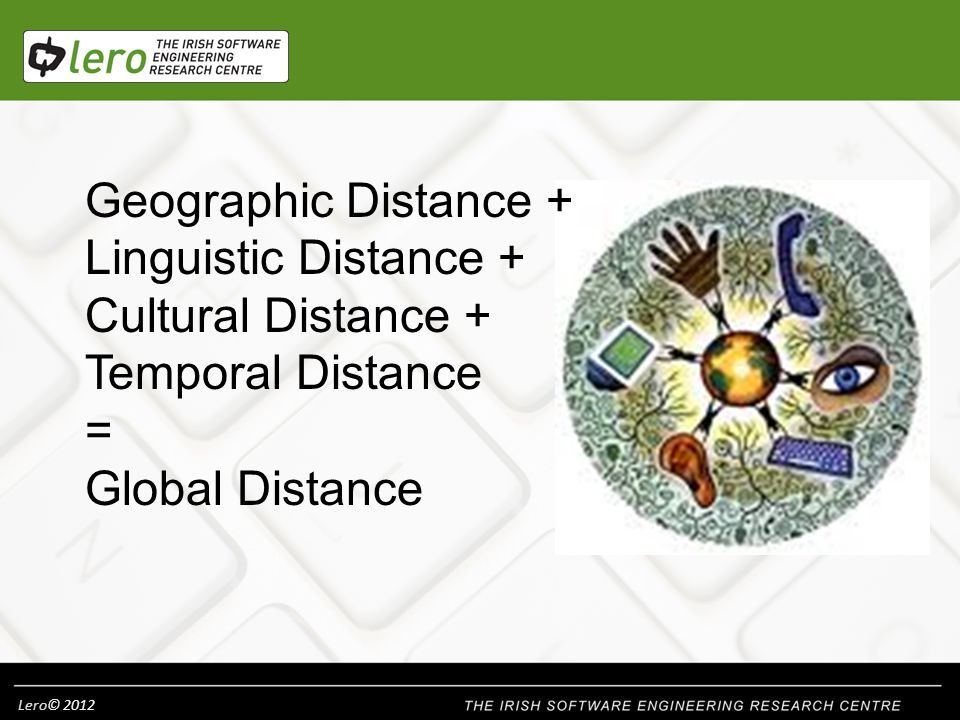 Lero© 2012 Geographic Distance + Linguistic Distance + Cultural Distance + Temporal Distance = Global Distance