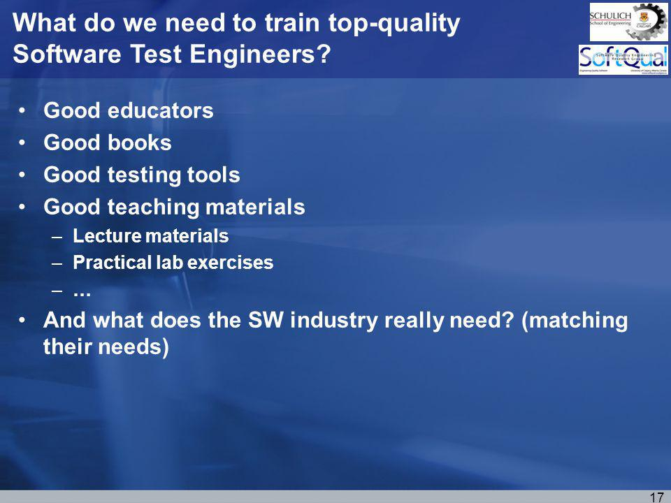 Good educators Good books Good testing tools Good teaching materials –Lecture materials –Practical lab exercises –… And what does the SW industry really need.