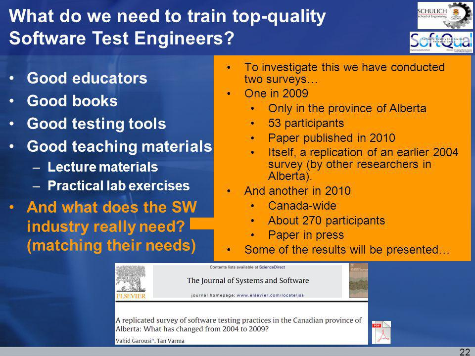 Good educators Good books Good testing tools Good teaching materials –Lecture materials –Practical lab exercises And what does the SW industry really need.