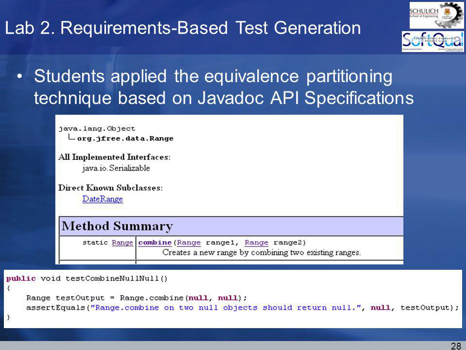 Lab 2. Requirements-Based Test Generation 28 Students applied the equivalence partitioning technique based on Javadoc API Specifications