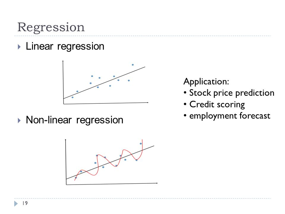 Regression 19  Linear regression  Non-linear regression Application: Stock price prediction Credit scoring employment forecast