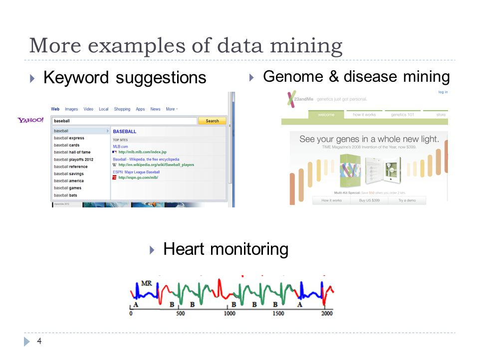 More examples of data mining 4  Keyword suggestions  Genome & disease mining  Heart monitoring