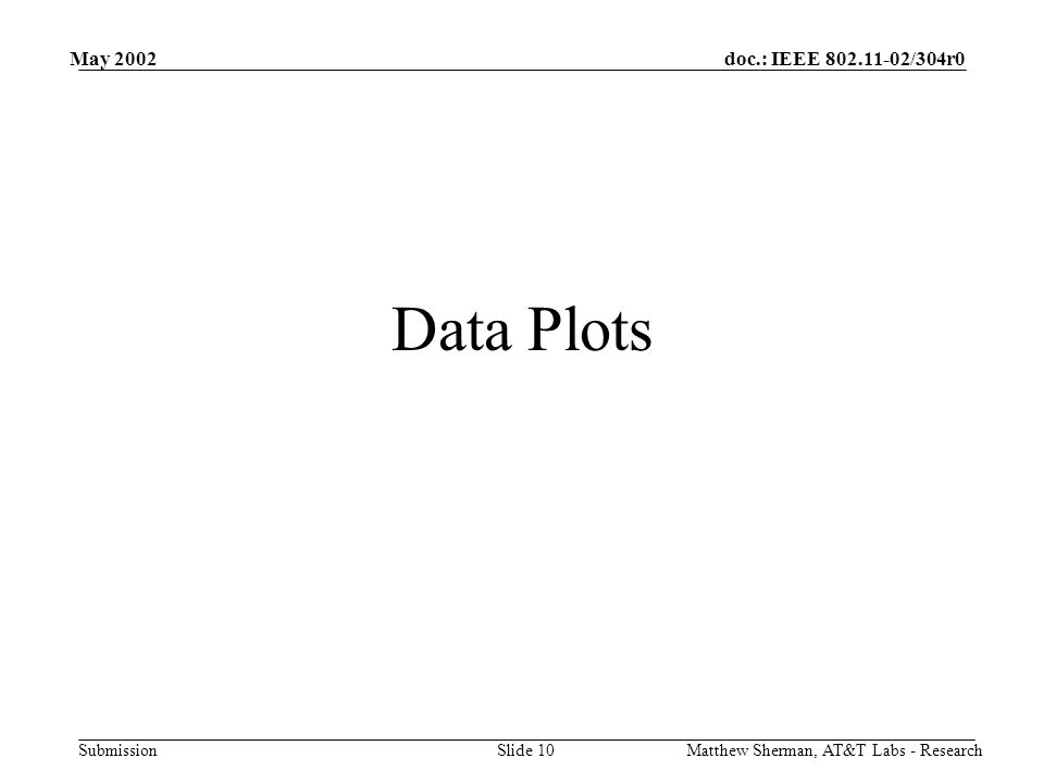 doc.: IEEE 802.11-02/304r0 Submission May 2002 Matthew Sherman, AT&T Labs - ResearchSlide 10 Data Plots