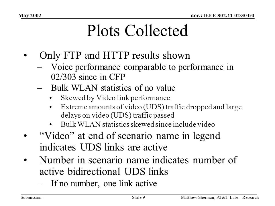 doc.: IEEE /304r0 Submission May 2002 Matthew Sherman, AT&T Labs - ResearchSlide 9 Plots Collected Only FTP and HTTP results shown –Voice performance comparable to performance in 02/303 since in CFP –Bulk WLAN statistics of no value Skewed by Video link performance Extreme amounts of video (UDS) traffic dropped and large delays on video (UDS) traffic passed Bulk WLAN statistics skewed since include video Video at end of scenario name in legend indicates UDS links are active Number in scenario name indicates number of active bidirectional UDS links –If no number, one link active