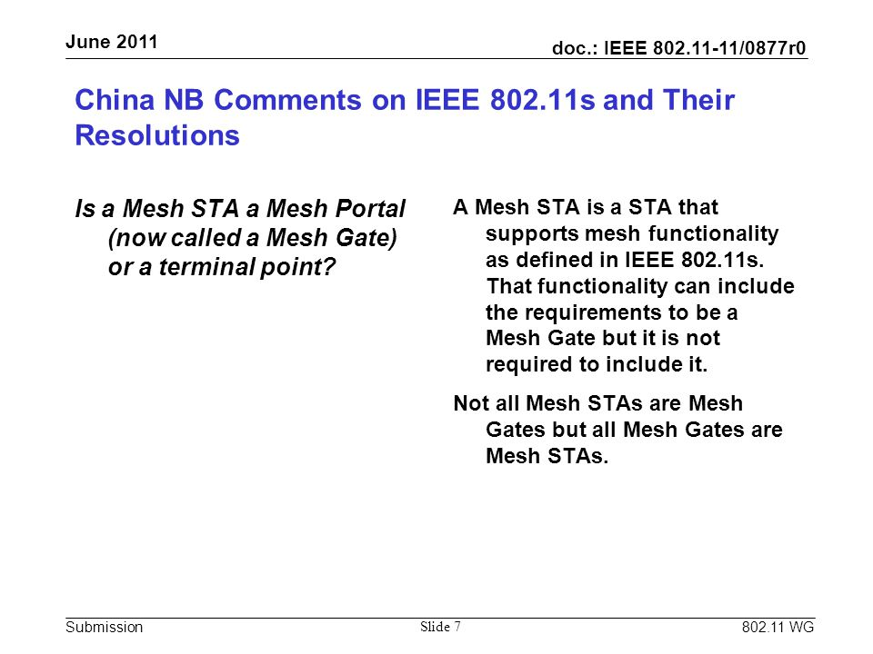 doc.: IEEE 802.11-11/0877r0 Submission June 2011 802.11 WG China NB Comments on IEEE 802.11s and Their Resolutions Is a Mesh STA a Mesh Portal (now called a Mesh Gate) or a terminal point.