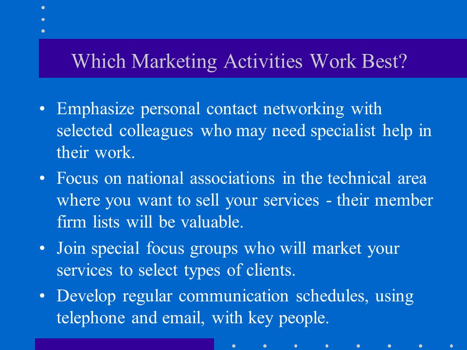 Which Marketing Activities Work Best.