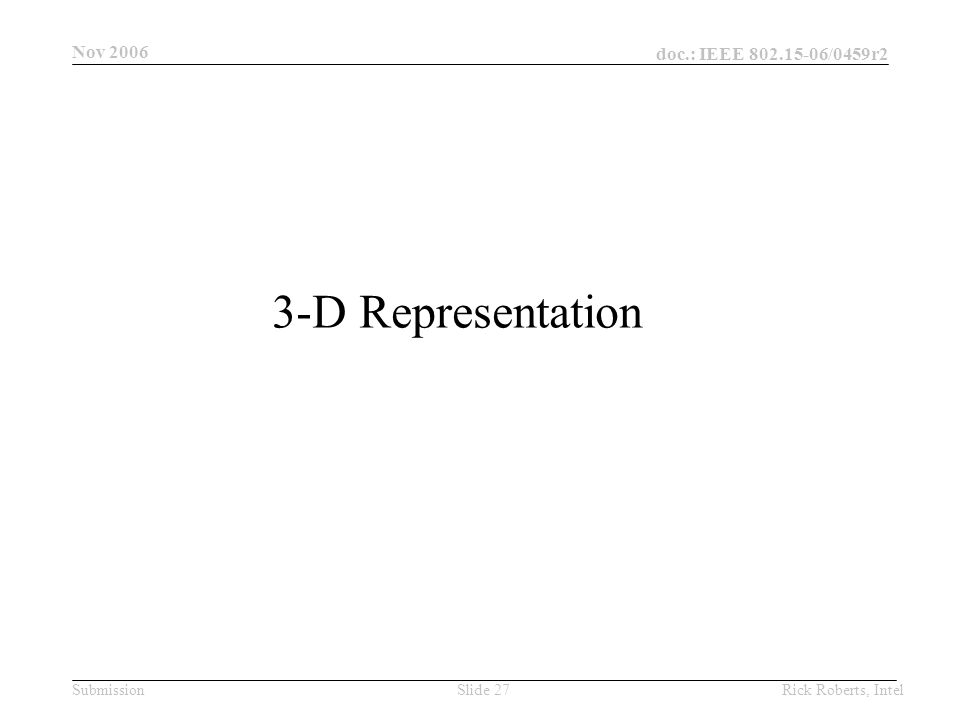 doc.: IEEE 802.15-06/0459r2 Submission Nov 2006 Rick Roberts, IntelSlide 27 3-D Representation