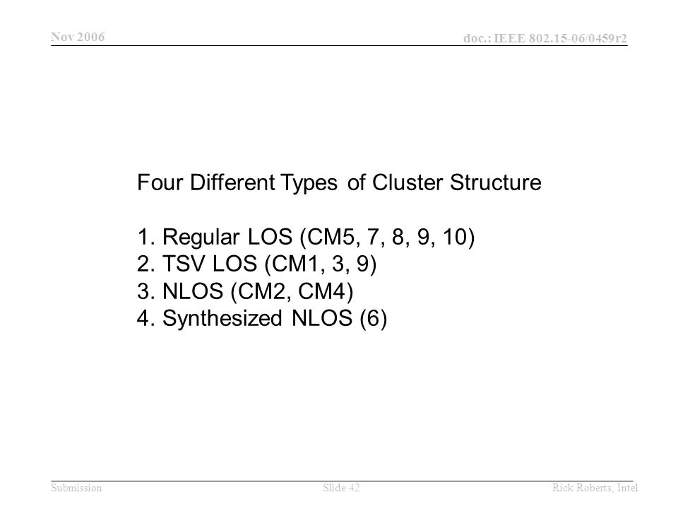doc.: IEEE 802.15-06/0459r2 Submission Nov 2006 Rick Roberts, IntelSlide 42 Four Different Types of Cluster Structure 1.Regular LOS (CM5, 7, 8, 9, 10) 2.TSV LOS (CM1, 3, 9) 3.NLOS (CM2, CM4) 4.Synthesized NLOS (6)