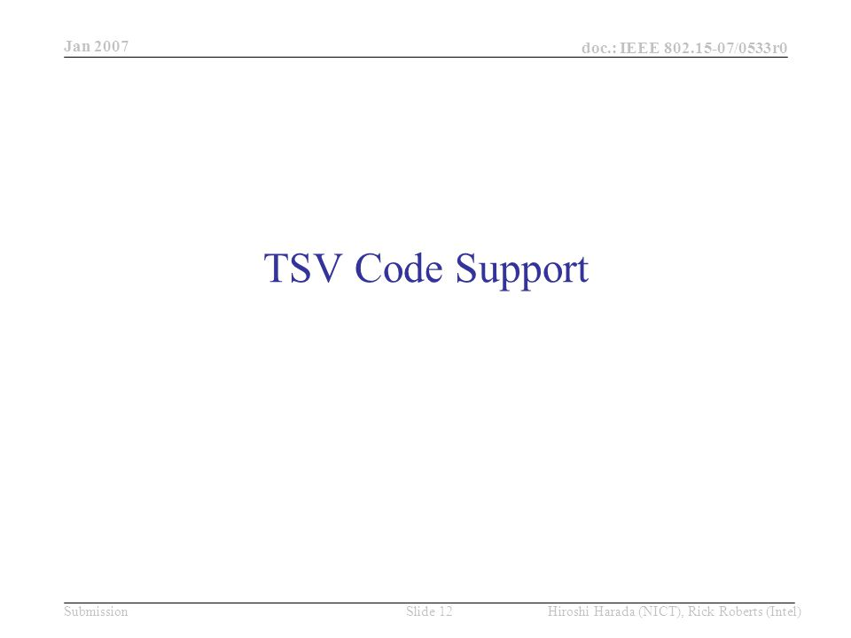 Jan 2007 doc.: IEEE /0533r0 Hiroshi Harada (NICT), Rick Roberts (Intel)Slide 12Submission TSV Code Support