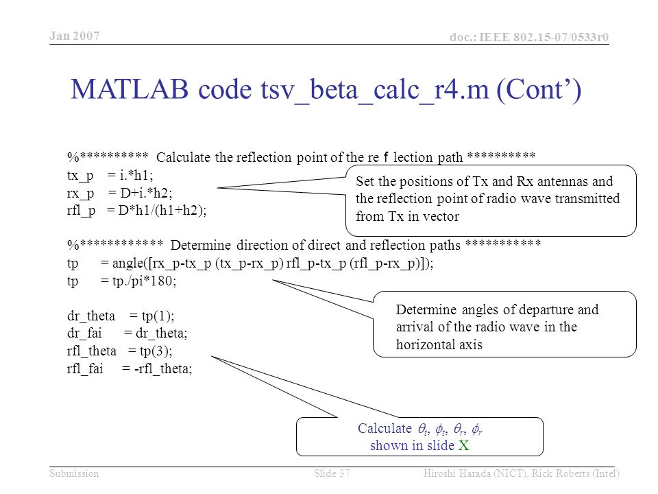 Jan 2007 doc.: IEEE /0533r0 Hiroshi Harada (NICT), Rick Roberts (Intel)Slide 37Submission %********** Calculate the reflection point of the re f lection path ********** tx_p = i.*h1; rx_p = D+i.*h2; rfl_p = D*h1/(h1+h2); %************ Determine direction of direct and reflection paths *********** tp = angle([rx_p-tx_p (tx_p-rx_p) rfl_p-tx_p (rfl_p-rx_p)]); tp = tp./pi*180; dr_theta = tp(1); dr_fai = dr_theta; rfl_theta = tp(3); rfl_fai = -rfl_theta; Set the positions of Tx and Rx antennas and the reflection point of radio wave transmitted from Tx in vector Determine angles of departure and arrival of the radio wave in the horizontal axis Calculate  t,  t,  r,  r shown in slide X MATLAB code tsv_beta_calc_r4.m (Cont')